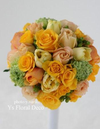 ぱきっと明るい黄色のブーケ @アンバサダーホテル ys floral deco