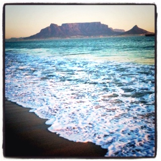 Table Mountain from Dolphin Beach, Blouberg. Cape Town, South Africa