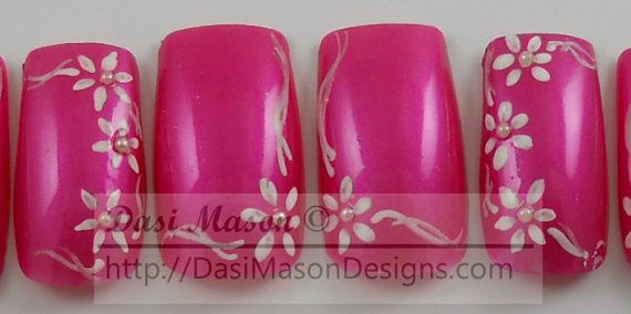 Pearly White Flowers on Pink Instant Acrylic Nail Set by dasimason