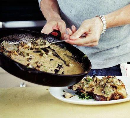 Mushroom, sherry & grain mustard sauce Recipe from Good Food magazine, November 2005.