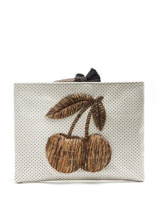 Sanayi 313 Ciliegia embroidered polka-dot clutch bag