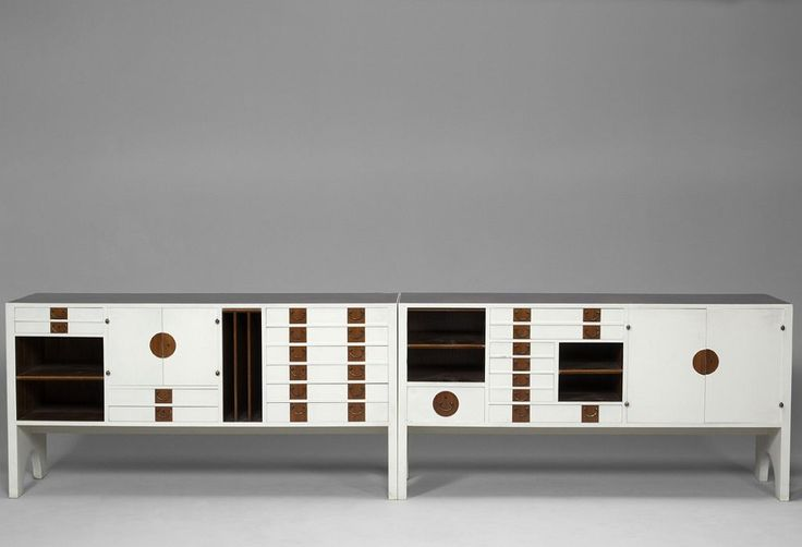 .Josef Frank; Unique Lacquered Walnut Sideboards by Svenskt Tenn for private residence in São Paulo, 1958.
