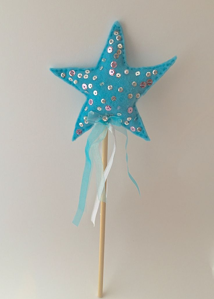 Light Blue Felt Handmade Girls Sparkle Fairy / Princess Star Wand With Sequins, Beads and Ribbons Ideal for girls dress up - (Code:0022) by ThinkingofEvelyn on Etsy