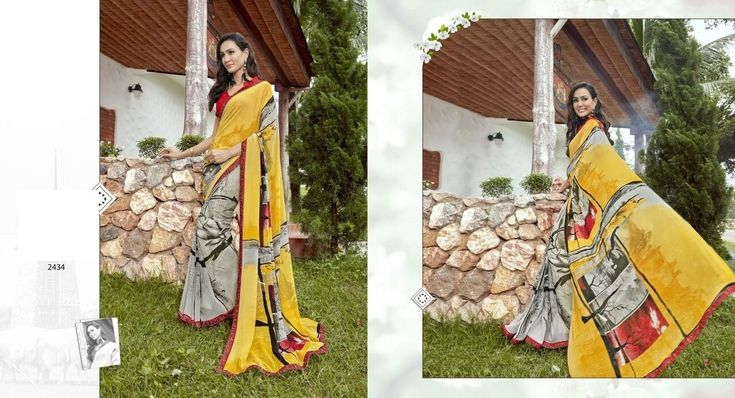 Exclusive Yellow & Gray Saree,Georgette saree,Printed saree,Casual saree,indian saree,printed saree with plain blouse