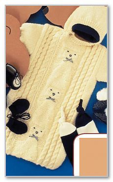 Вязание детям спицами. Фотогалерея моделей для детей от 0 до 3 лет. Спальный мешок на молнии и рельефными мишками. Размеры до 6 месяцев
