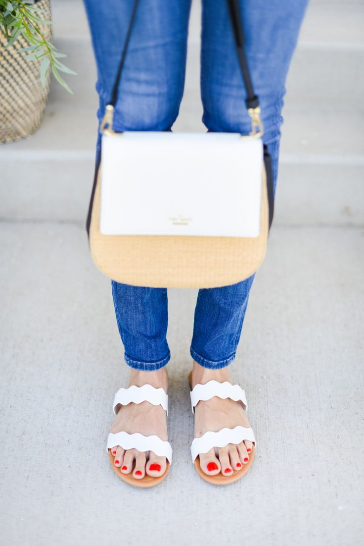 These cute white sandals are to die for and this purse is on sale people! Huge deal, fashion, summer, every day outfit, every day purse, chic purse, white purse, white sandals, blue jeans.