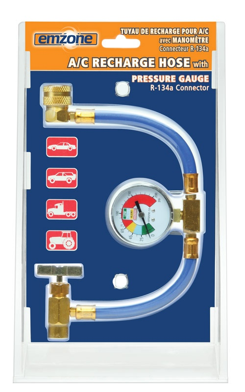 The heavy duty Recharge Hose with Pressure Gauge is