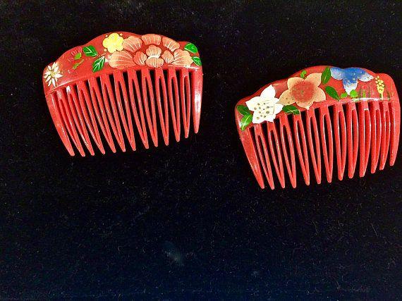Vintage 1960s Red Plastic Asian Floral Decorative Hair Comb