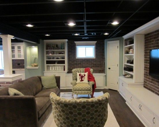 semi finished basement room sized carpet ikea bookcases paint ceiling black install lighting. Black Bedroom Furniture Sets. Home Design Ideas