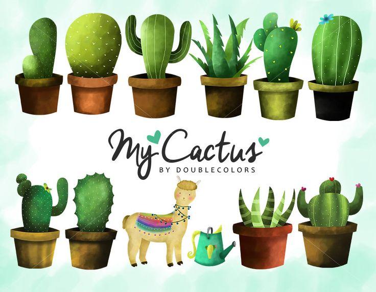 Cactus, clip art set, png file. de DoubleColors en Etsy