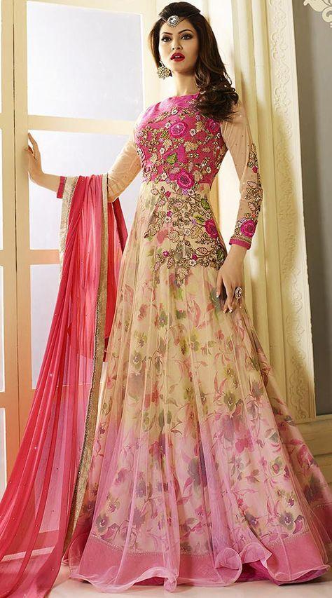 Urvashi Rautela Floral Print Party wear Indian Gown Style Suit
