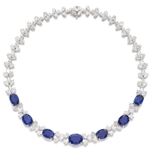 Sapphire and diamond necklace, Cusi, set with marquise-shaped diamonds( est total 27-30cts.), the front highlighted with oval sapphires( Ceylon and Malagasy origin no heat);  sold 275,000 CHF;  15/11/17.      sotheby's ge1705lot9mcxyen