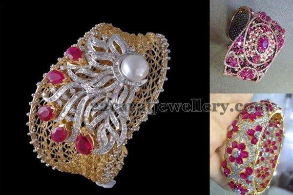 Jewellery Designs: Diamond Ruby Thick Kada Designs