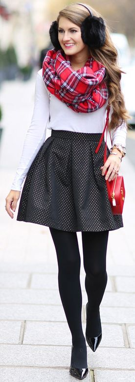 Plaid Scarf Polka Dot Skirt Fall Street Style Inspo by Southern Curls and pearls