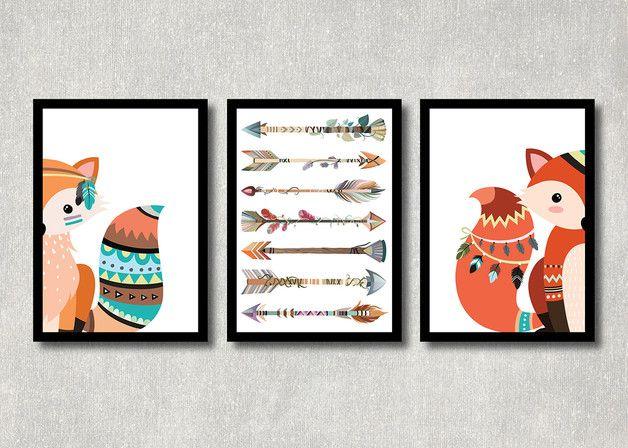 Originaldruck - Tribal Fuchs 3er Set, Kunstdruck, Kinderzimmer - ein Designerstück von ColorfulCloud bei DaWanda