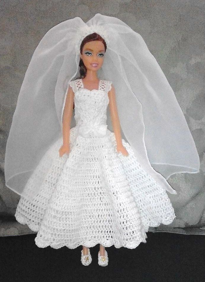 Wedding Dress for Barbie Doll by MomDaughterCraft | Barbie Crochet ...