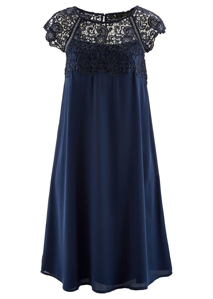 Φόρεμα από μουσελίνα με δαντέλα Μπλε σκούρο bpc selection ...