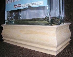 Base en bois pour bloc de verre 7 1/2 x 7 1/2