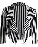 LOL-Manteau dames femmes Noir rayé blanc recadrée Cascade Veste Blazer Taille: 34-48