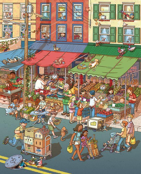 City Farmer's Market by Chuck Dillon, via Behance. Una calle muy animada. Quién es quién del qué están haciendo ;)
