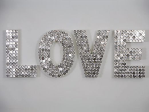 "Use pennies, spray paint silver - ""love"" this idea!"