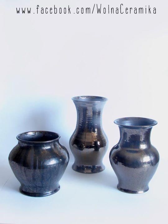 Metallic vases.