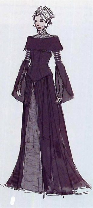 Star Wars Padme Amidala Packing Dress - Original Concept Art