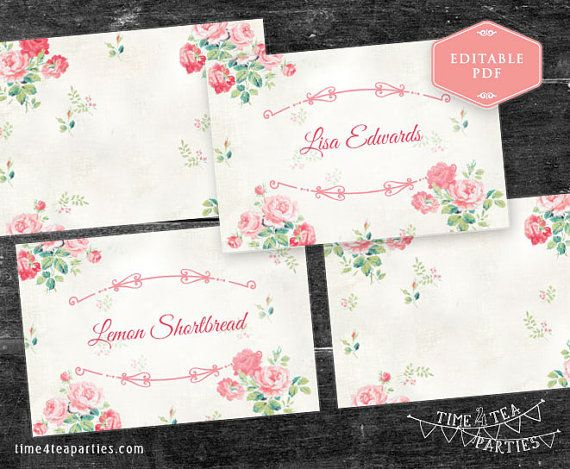 Pink Floral Tea Party Food label tent cards and by Time4TeaParties