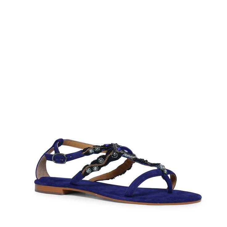 Blauwe sandalen met sierstenen | Dames | MANFIELD