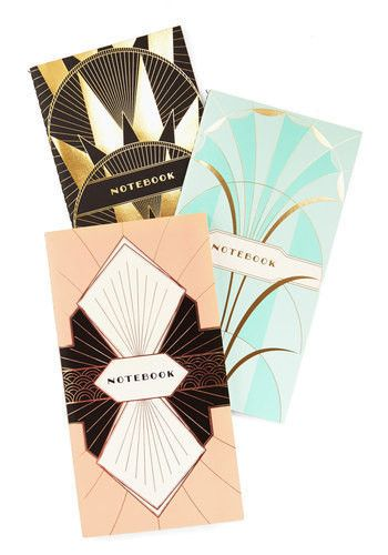 It's timeless, it's collectible, and it's utterly of the moment. Mirroring the elegance of Art Deco, the covers of these slender notebooks glint with full-cover