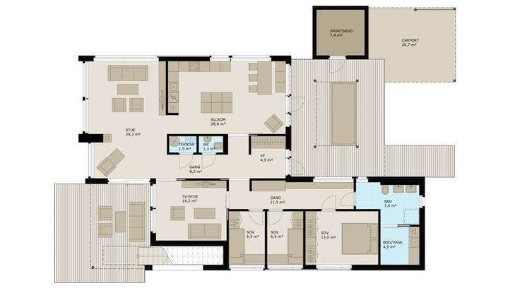 Fra vindfanget er det inngang til kjk., soverom og stue, samt fri sikt til hagen i andre enden av huset. Fra stuen er det utgang til en overbygd markterrasse og trapp opp til takterrassen. TV-stua kan også benyttes som kontor eller lekerom. Kjøkkenet er praktisk og stort og blir nok et naturlig samlingssted. Store vinduer og direkte utgang til atriumet visker ut skillet mellom ute og inne, og sommerstid blir atriumet et ekstra rom. Ønskes en større stue kan veggen mellom kjøkken og stue…