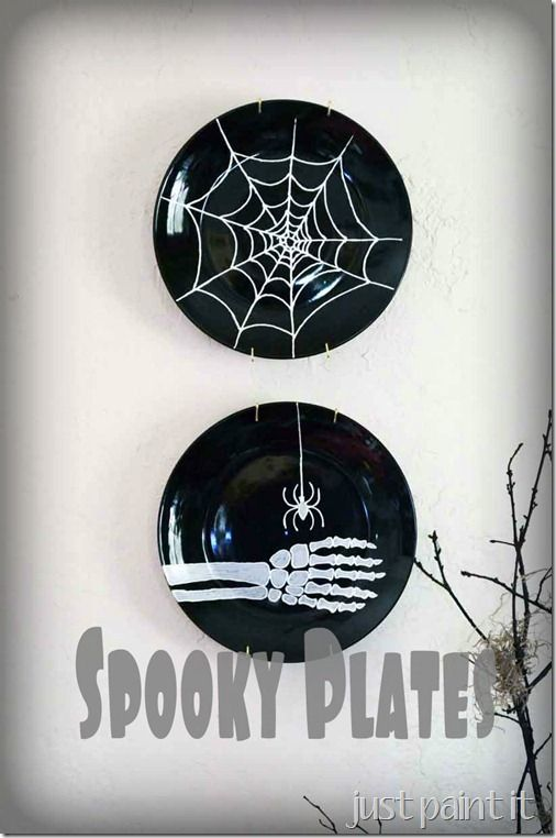 make dollar store plates spooky with paint halloween - Spooky Halloween Store