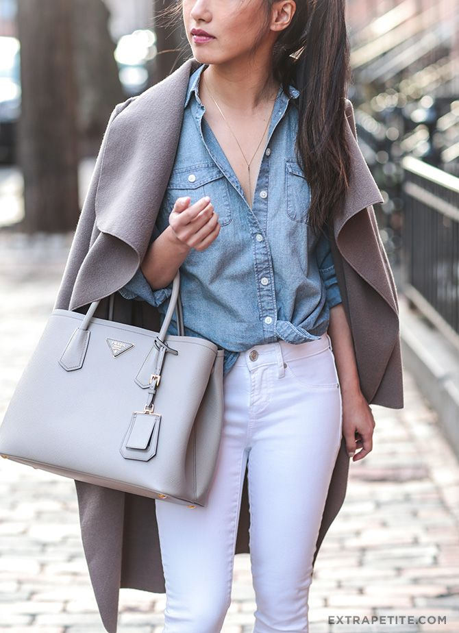 white jeans, grey jacket + chambray shirt // more outfit ideas are on extrapetite.com