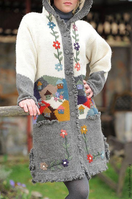 Верхняя одежда ручной работы. Ярмарка Мастеров - ручная работа Вязаное пальто W4. Handmade.