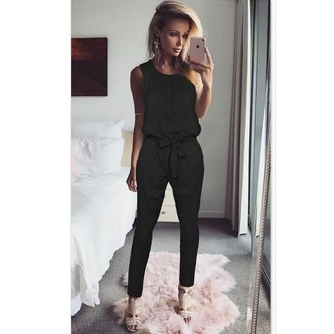 c12486a1c54c  EBay  Women Tank Top Jumpsuit Black Summer Rompers Ladies Casual Elegant  Sleeveless Long Pants Plus Size Overalls Playsuit Ws949X
