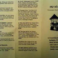 Scanned menu for Pho Hong