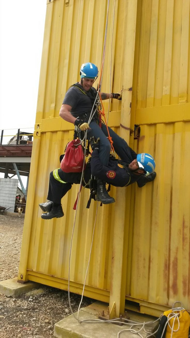 High angle rope rescue.
