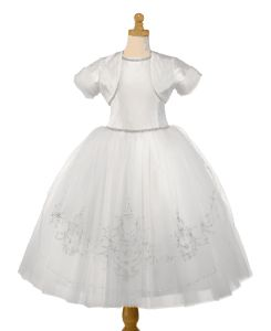 Christie Helene Couture 100% White Silk Communion Dress - Zoe - Full Multi Layer Tulle Skirt