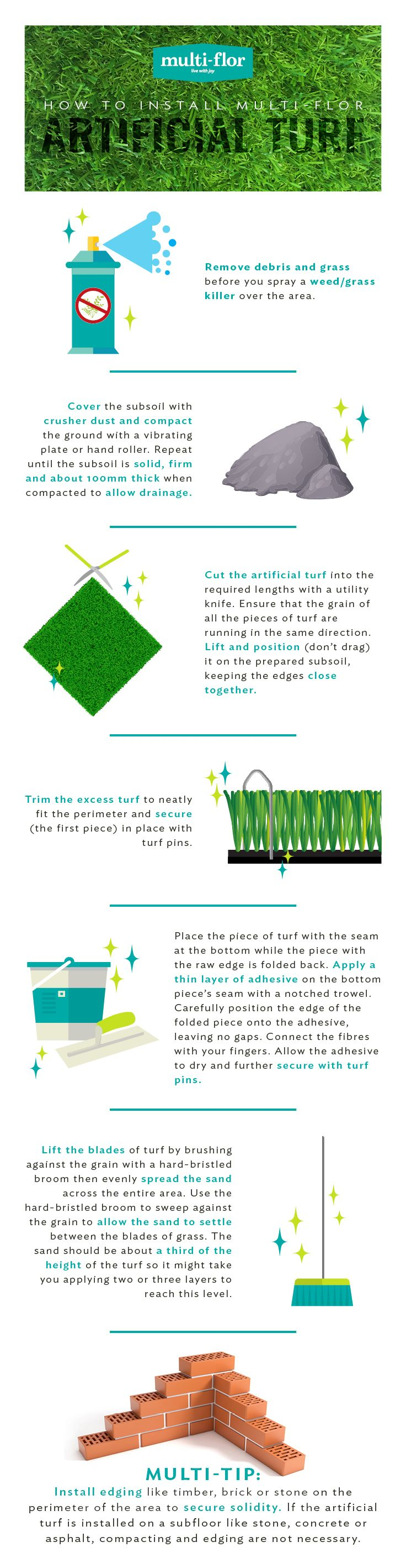 Multi-flor's Artificial Landscaping Grass is suitable for indoor and outdoor areas, including: gardens, balconies, pool side areas and kids' playroom.  Follow these easy installation instructions for beautiful, lasting results.