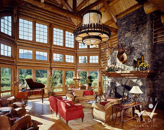 Roger Wade Studio Interior Photography Of Luxury Log Home Great Room With  Floor To Ceiling Windows Part 69