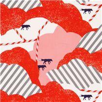 Tela satén algodón laminado rojo rosa nube zorro purpurina de Kokka. 12.50€/m