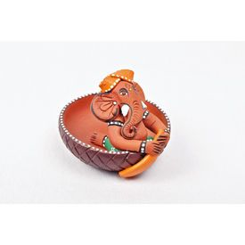 Ganesha with Round Boat, 3 Inch