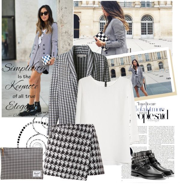 """""""Houndstooth blazer and skirt during pfw"""" by sarapires ❤ liked on Polyvore"""