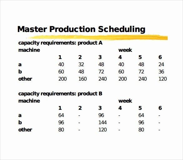 Master Production Schedule Template Excel Best Of 11