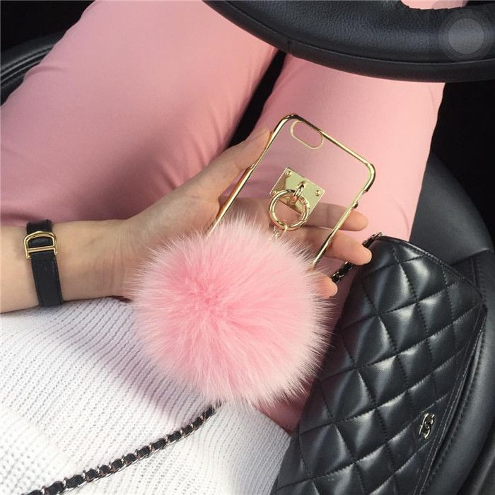 Pom Pom Fur Ball Chain Case For iPhone 6 6s 6plus 6s 5.5 inch