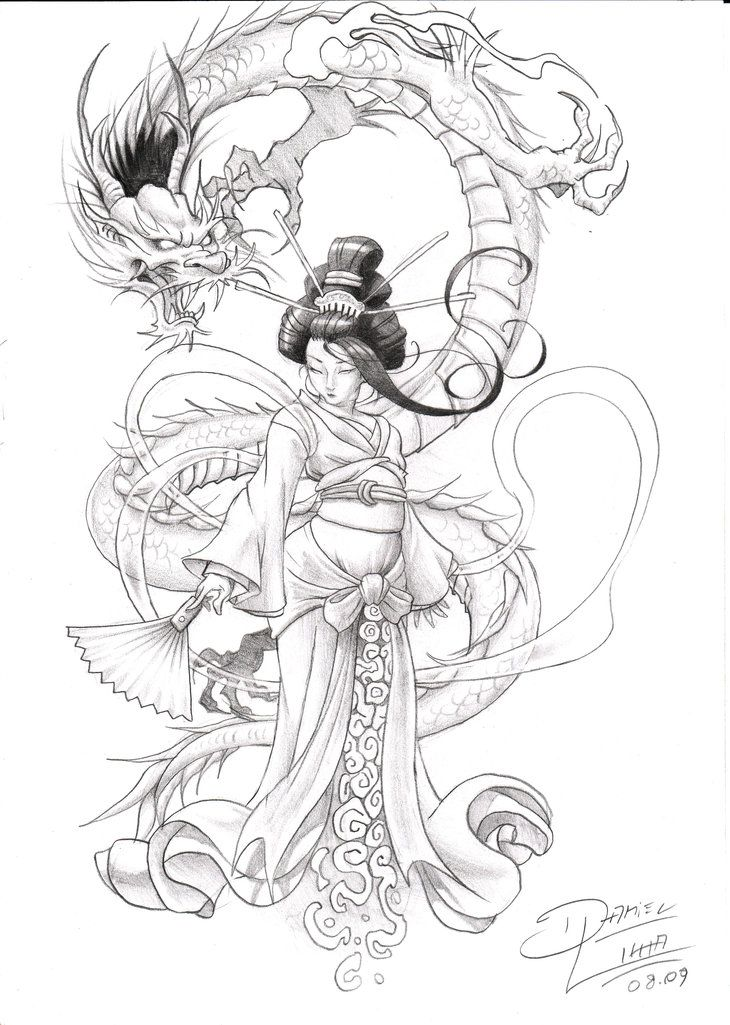traditional geisha dragon print - Google Search
