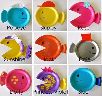 manualidades con niños platos colores5 Manualidades con niños... Peces de colores