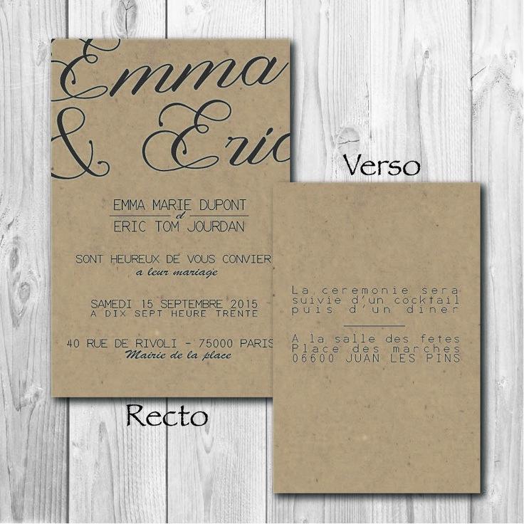 faire part de mariage original kraft vintage personnalisable faire part par artdeco28 - Faire Part Mariage Etsy