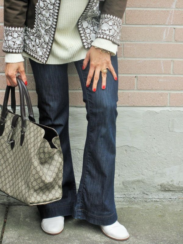 Bringing Back 70's- Jeans/// Gucci Bag/// White Boots/// Embroidery Jacket. Visit Well Put Together Blog for more detail :)