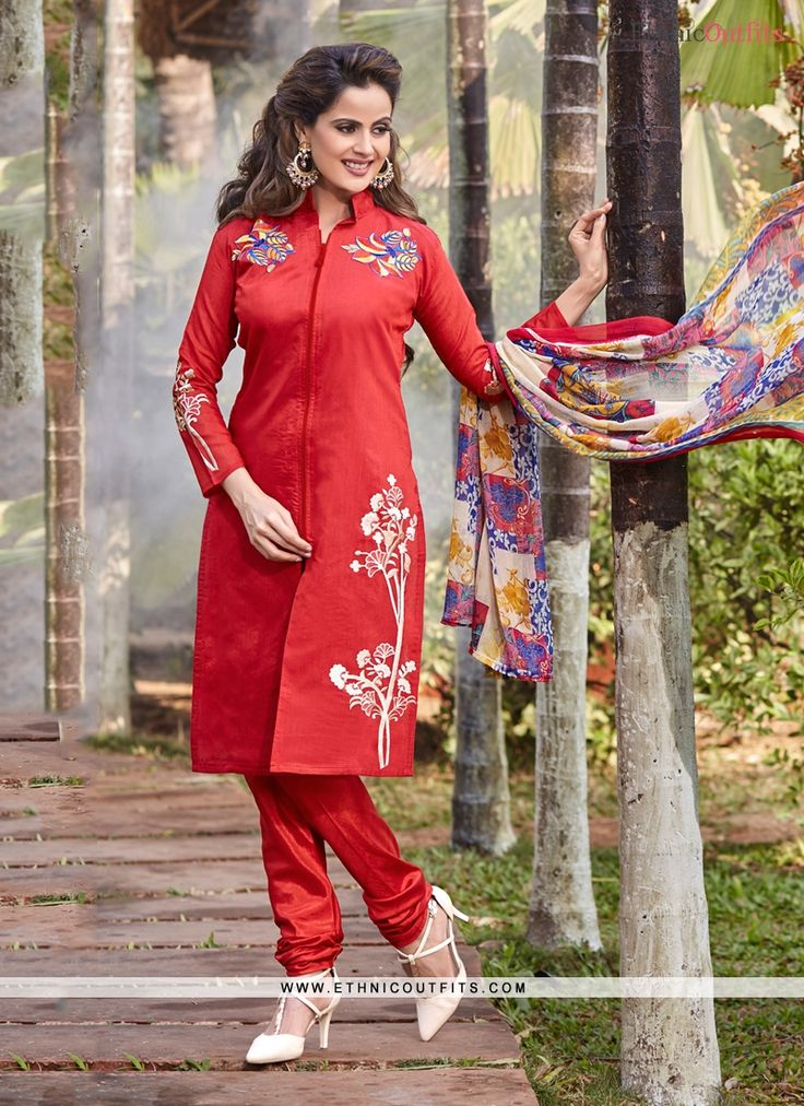 Festal Red Chanderi Cotton Churidar Designer Suit   Email- support@ethnicoutfits.com Call - +918140714515 What's app/Viber- +918141377746